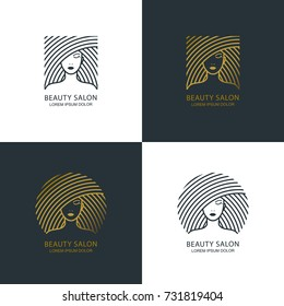Female line style illustration. Vector logo, emblem, label design set. Concept for beauty salon, makeup cosmetic, haircare, cosmetology and spa. Golden outline label with womens face.