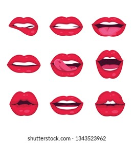 Female lips collection with 2d style vector illustration white background.