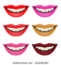 Female lips colored in different lipstic colors isolated vector illustration.
