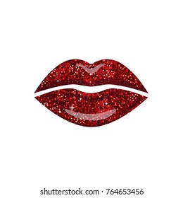 Female Lips. Girlish lips painted in shimmer Red color. Logo for Beauty salon, Cosmetic brand, fashion Make up.  Vector illustration isolated on white.