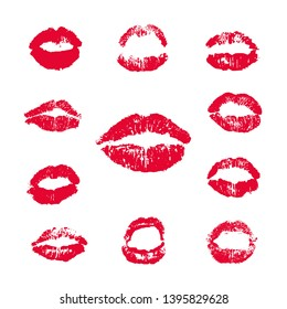 Female Lips Lipstick Kiss Print Set, Vector Illustration