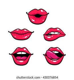 Female lips set. Mouth with a kiss, smile, tongue, teeth. Vector comic illustration in pop art retro style isolated on white background.