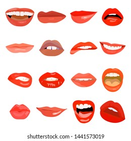 Female lips set on sweet passion. Lip design element lust makeup mouth. Vector print illustration cosmetic sensuality desire tongue out. Smile woman red sexy doodle lips