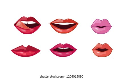 Female lips set, woman lips with different lipstick colors and various emotions vector Illustration on a white background