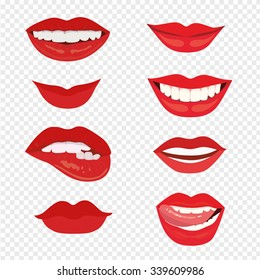 Female lips with a smile. The mouth with a kiss. Vector illustration isolated on transparent background.