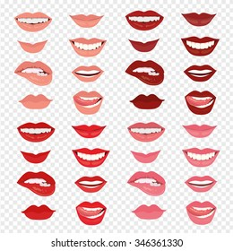 Female lips with a smile. The mouth with a kiss. Vector illustration isolated on transparent  background. Pink, red, brown and purple lips.