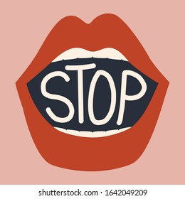 Female lips and text: stop. Vector illustration of mouth