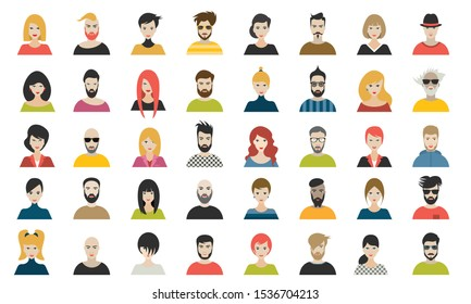 Female an male avatar heads. Various type of women and men faces. Vector.