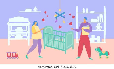 Female male character person family, pregnancy wife husband standing baby cot flat vector illustration. Concept young people reproduce, cozy interior nursery room. Kid playroom and toy place.