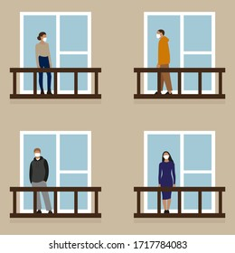 Female and male characters in medical masks stand on balconies
