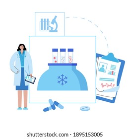 Female, male egg cell cryopreservation. Embryo icon in tube. Sperm and ovum. Fertilisation, gynecology testing. Doctor in lab. Human sexual reproductive system. Medical poster IVF vector illustration.