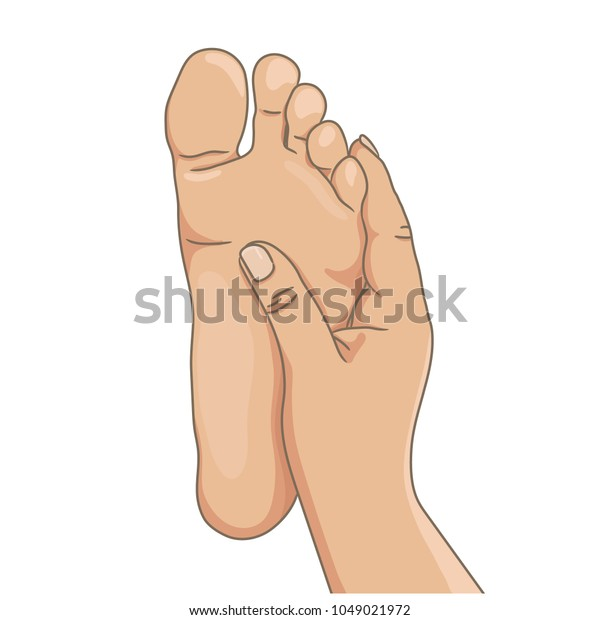 Female or male foot sole, barefoot, bottom view. Vector illustration, hand drawn cartoon style isolated on white.