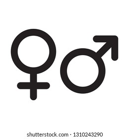 Female and male gender icons. Vector isolated man sex symbol and woman gender sign