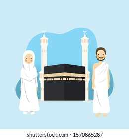 Female and Male Hajj Pilgrimage Pray Near Kabah Wearing Ihram