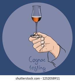 Female or male hand holding a cognac glass. cognac/brandy tasting. Vector drawing.