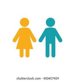 female male icon on white background