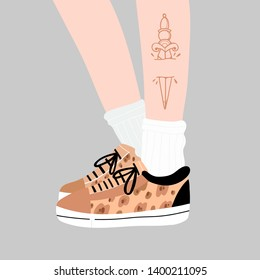 Female or male legs with dagger tattoo in the sneakers. Leopard print sport footwear. Cool stylish shoes. High white socks. Hand drawn vector colored trendy fashion illustration. Flat design