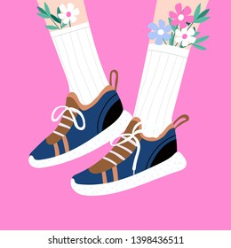 Female or male legs in the sneakers. Cool sport footwear. Stylish running comfortable shoes. High white socks and flowers. Hand drawn vector colored trendy fashion illustration. Flat design