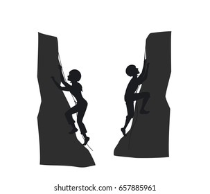 female and male mountain rock climbers silhouette