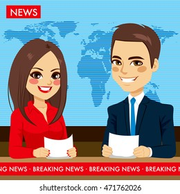 Female and male newscasters on tv news television show