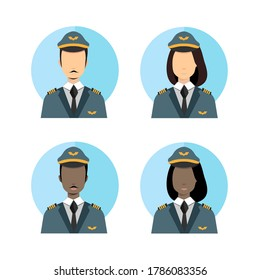 Female and Male Pilot Vector Avatar Illustration Flat Color