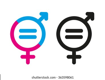 Female and Male Symbols with Mathematical Equal Sign. Editable Clip Art.