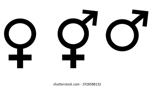 female, male and transgender symbol set vector