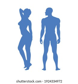 Female and male vector illustration silhouettes in full growth in blue color. Adult athletic human body. Anatomy, medicine, psychology, sports.