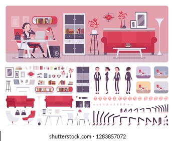 Female manager business office creation kit, full workspace interior, stationery, furniture set, build own room design. Businesswoman constructor elements. Cartoon flat style infographic illustration