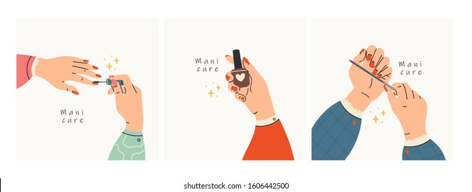 Female manicured hands. Lady painting, polishing nails. Nail brush, nail polish, nail file. Spa treatment beauty concept. Set of three Hand drawn colored trendy vector illustrations