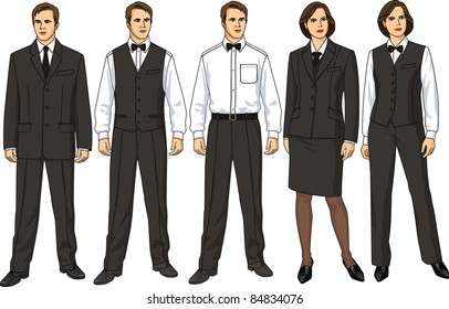 The female and man's form of clothes for waiters