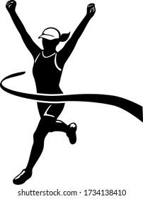 Female Marathon Runner Finishing Race Black and White