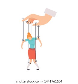 Female Marionette on Ropes Controlled by Hand, Manipulation of People Concept Vector Illustration