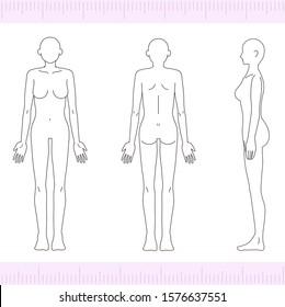 Female medical beauty nude nude full body front, back, side, sideways