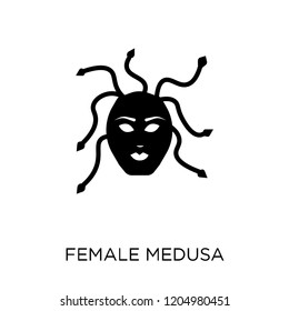 female Medusa icon. female Medusa symbol design from Fairy tale collection. Simple element vector illustration on white background.