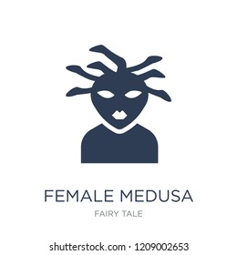 female Medusa icon. Trendy flat vector female Medusa icon on white background from Fairy Tale collection, vector illustration can be use for web and mobile, eps10