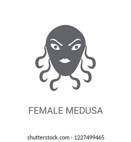female Medusa icon. Trendy female Medusa logo concept on white background from Fairy Tale collection. Suitable for use on web apps, mobile apps and print media.