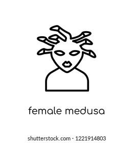 female Medusa icon. Trendy modern flat linear vector female Medusa icon on white background from thin line Fairy Tale collection, editable outline stroke vector illustration