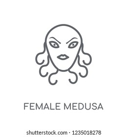 female Medusa linear icon. Modern outline female Medusa logo concept on white background from Fairy Tale collection. Suitable for use on web apps, mobile apps and print media.