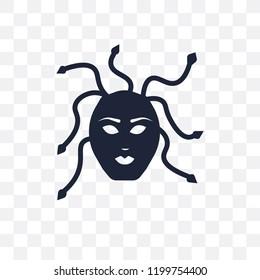 female Medusa transparent icon. female Medusa symbol design from Fairy tale collection. Simple element vector illustration on transparent background.