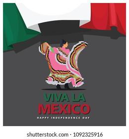 Female Mexico Dance With Flag Viva La Mexico