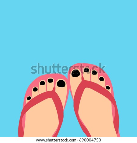 6f33eef879cd female modern feet with a pedicure   black Nail polish in a flip-flops in  the summer Vector illustration. girl or women legs in a slippers isolated  flat ...
