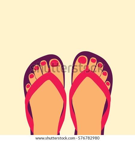 de8cf8accf64 female modern feet with a pedicure   Nail polish in a flip-flops in the