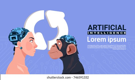 Female And Monkey Head With Modern Cyborg Brain Over Updating Sign Aroows Artificial Intelligence Concept Vector Illustration