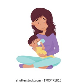 Female Mother Sitting and Bottle Feeding Her Baby Vector Illustration