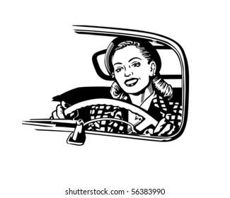 Female Motorist - Retro Clip Art