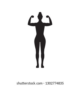 Female muscle flexing fitness vector icon, woman silhouette flexing arms
