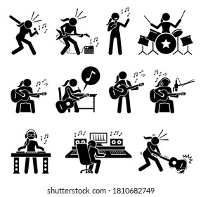 Female music artist singing song and playing musical instruments stick figure icons. Vector illustrations of woman playing guitar, drum, and writing songs. The girl is a deejay and music producer.