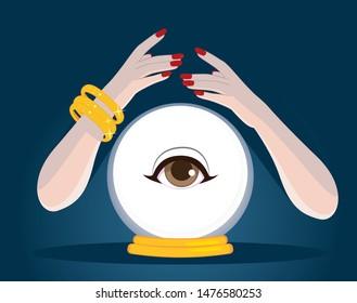 Female mystic magician fortune teller hands summoning magic crystal ball future telling