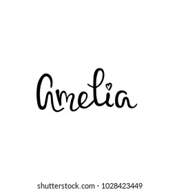 Female name Amelia - template for invitation and greeting cards, envelopes, t-shirts, stickers. Vector composition